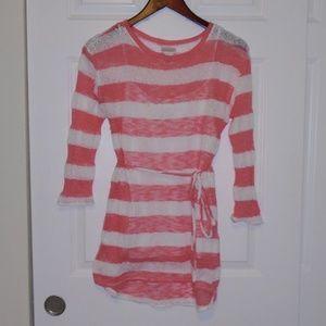 Motherhood Maternity Pink Striped Sweater Dress